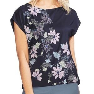 NWT Vince Camuto Floral Vines Mixed Media Top